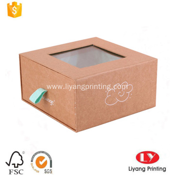 Brown kraft paper drawer box with printing